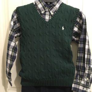RARE Ralph Lauren Polo Sweater Vest DK GRN Boys 6